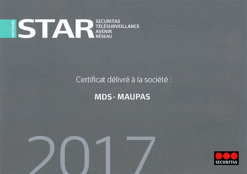 Cértificat MDS partenaire STAR Securitas alarmes à Caen (Calvados) en Normandie